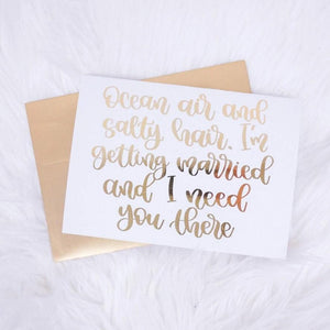 Ocean Air and Salty Hair Bridal Party Foiled Card & Envelope