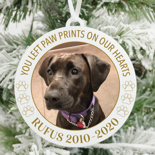 You Left Paw Prints On Our Hearts Pet Memory Photo Christmas Ornament