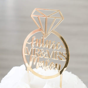 Personalized Ring Future Mr and Mrs Cake Topper