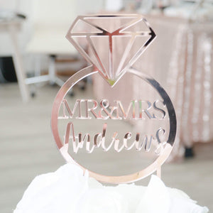 Personalized Ring Mr and Mrs Cake Topper