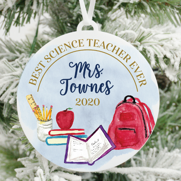 Best Science Teacher Ever Personalized Christmas Ornament