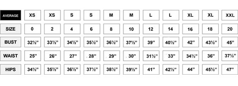 Lady L Boutique Size Chart