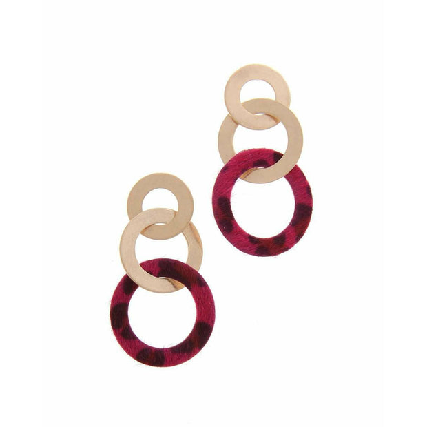 Animal Print Circle Metal Post Drop Earring