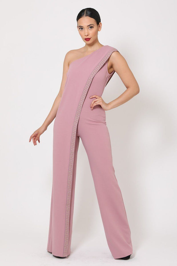 One Shoulder Greek Border Pattern Jumpsuit