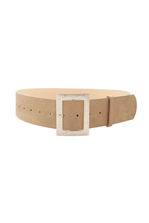 Rectangle Rhinestone Buckle Suede Belt