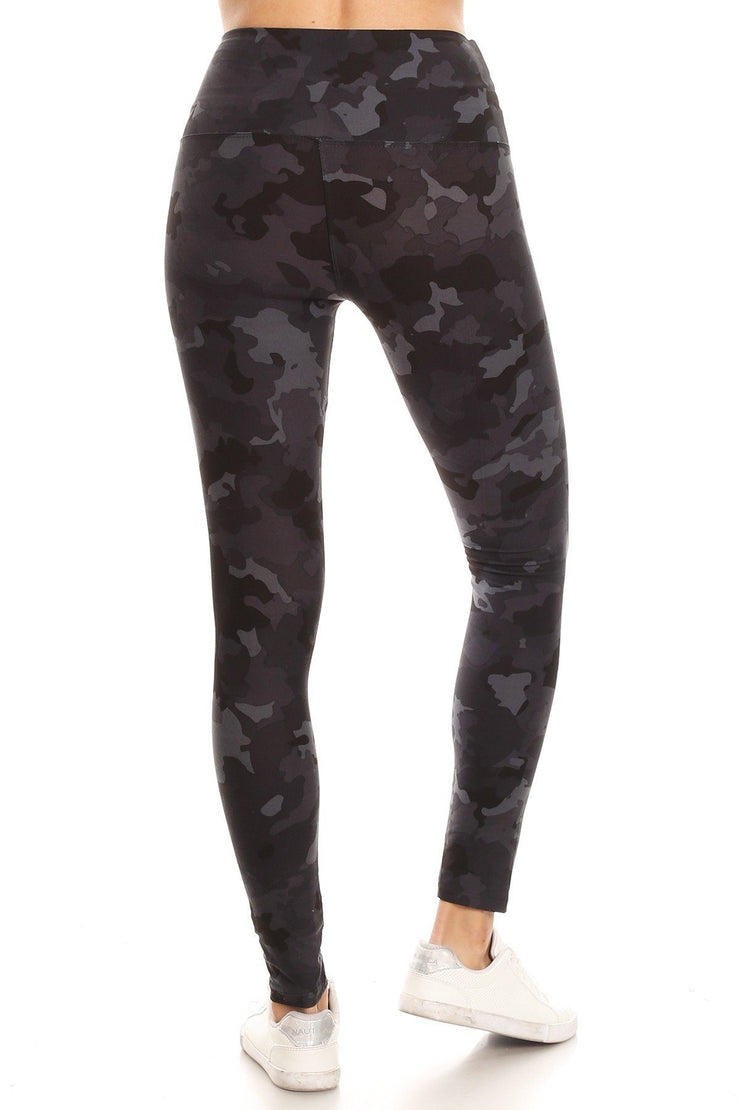 High Waist Camouflage Printed Knit Legging