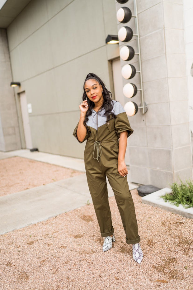 Olive Bi-Color Jumpsuit