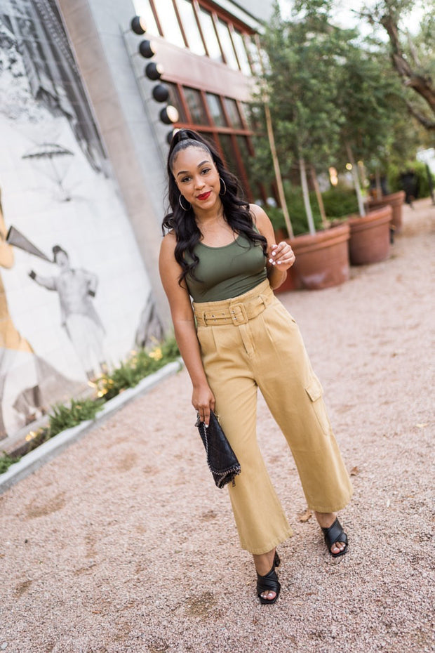 Pleated Cargo High Waist Pants