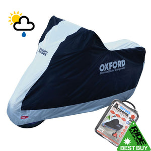APRILIA TUONO 1000 FACTORY Oxford Aquatex CV206 Waterproof Motorbike Black & Silver Cover