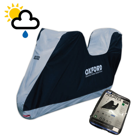 Moto-Guzzi V9 Roamer Oxford Aquatex Top Box CV205 Waterproof Motorbike Black & Silver Cover