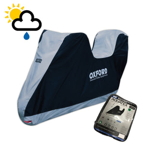 YAMAHA CYGNUS X Oxford Aquatex Top Box CV201 Waterproof Motorbike Black & Silver Cover