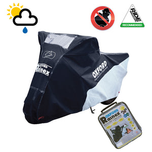 MOTO-ROMA Upto 750cc Oxford Rainex CV502 Waterproof Motorbike Silver & Black Cover