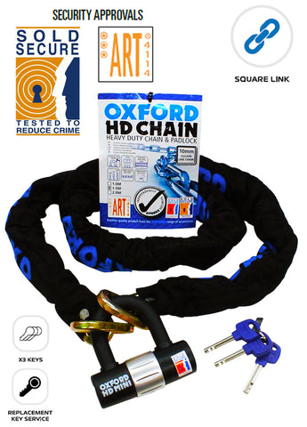 YAMAHA XVZ1300 VENTURE ROYALE Oxford HD Chain Lock Heavy Duty Chain & Padlock 1.5M OF159 Motorbike Security