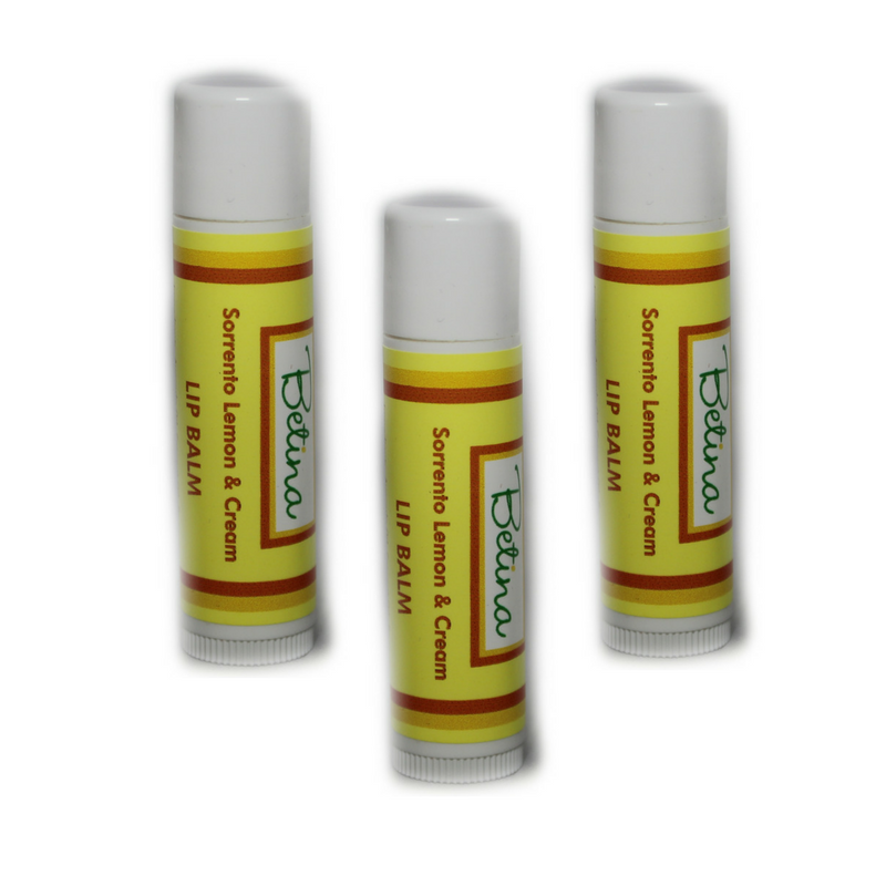 Betina Skin Care Sorrento Lemon and Cream Natural Lip Balm Pack of 3