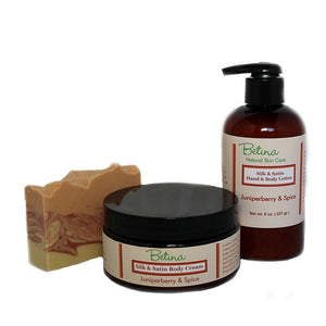 Juniperberry and Spice Soap, Lotion and Body Cream Value Pack