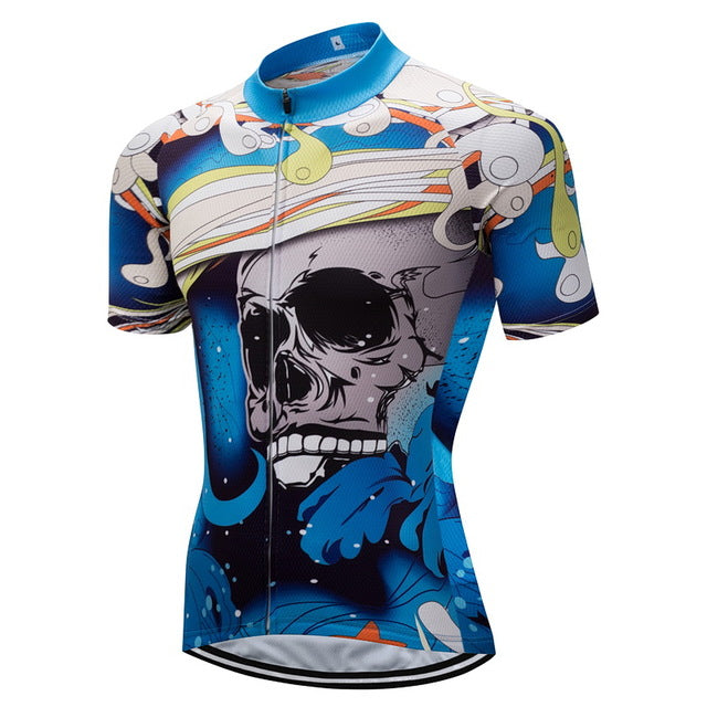 Blue Skull Short Sleeves Rebel Cycling Jersey cb1b69440