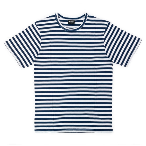 RUSSIAN REPRO TELNYASHKA NAVY DARK BLUE STRIPED T-SHIRT