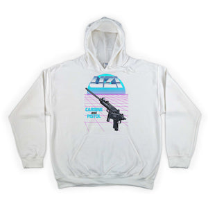 Uzi Carbine and Pistol Hooded Sweatshirt White