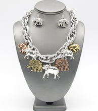 Elephant Charm Necklace Set