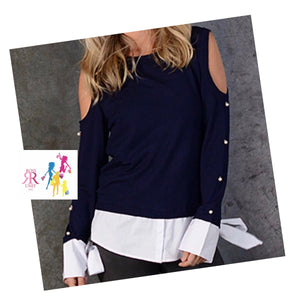 Blue & White Cut Out Top