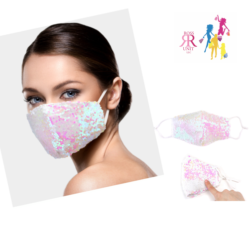 White Sequins Face Mask