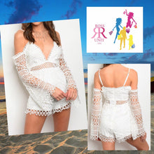 White Long Sleeve Crochet Romper