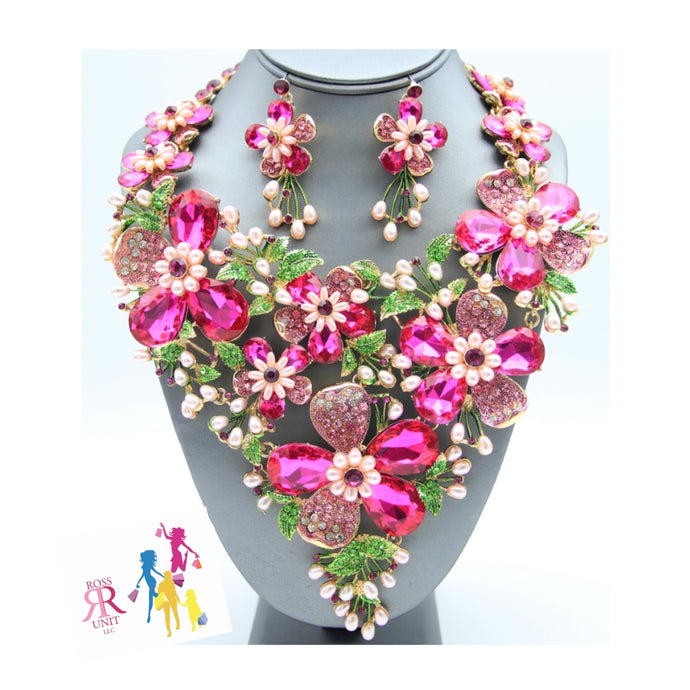 Pink & Green Crystal Water Flower Set
