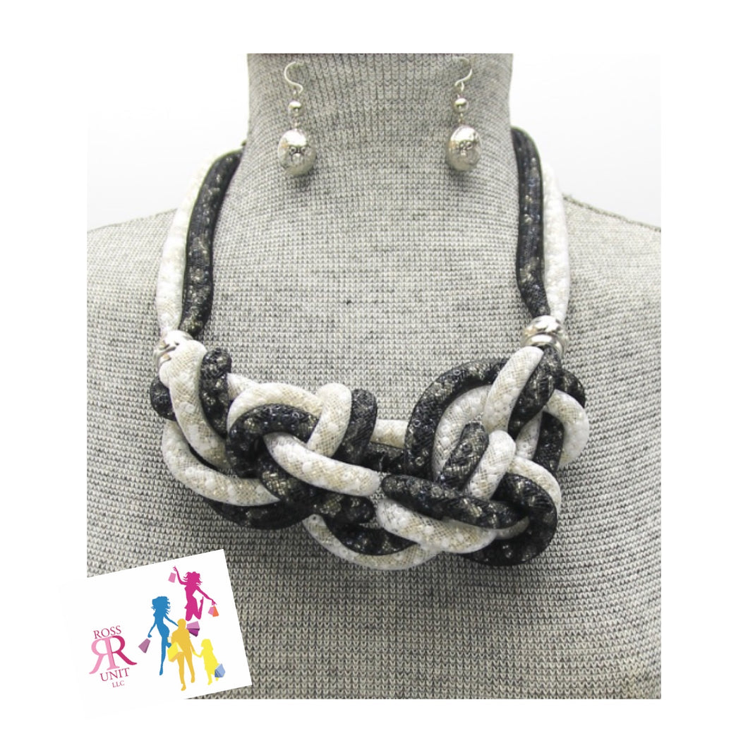 Mesh Braided and Knot Necklace Set