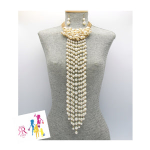 Long Pearl Beaded Fringe Necklace Set