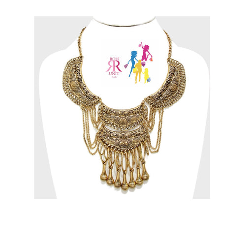 Draped Chain Accented Tribal Bib Necklace