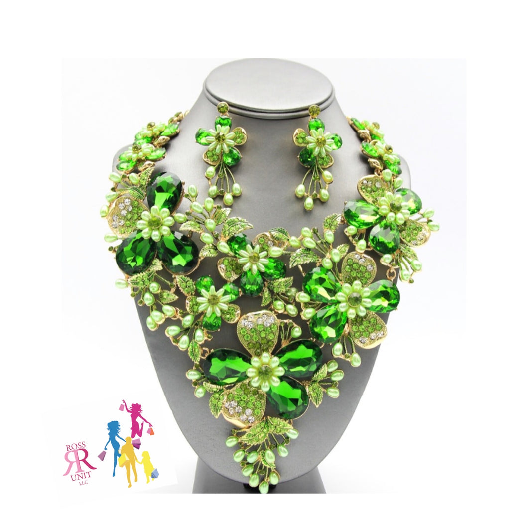 Green Crystal Water Flower Statement Necklace