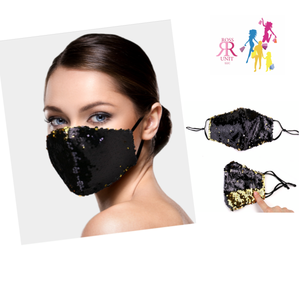 Black Sequins Face Mask