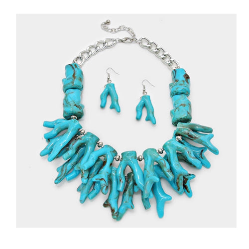 Turquoise Coral Reef Statement Necklace Set