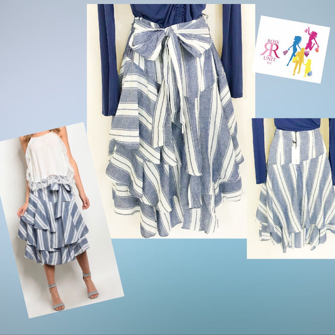 Striped and Ruffles Skirt