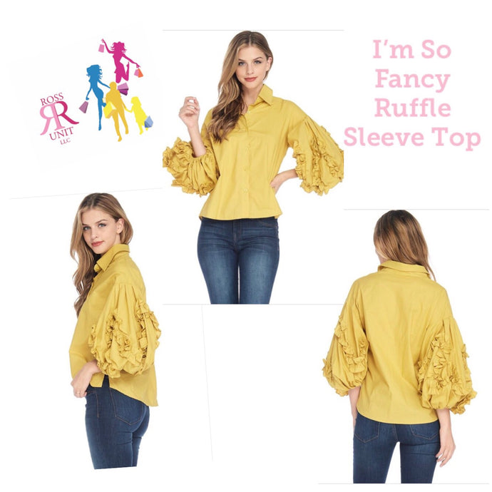 I'm So Fancy Ruffle Sleeve Top