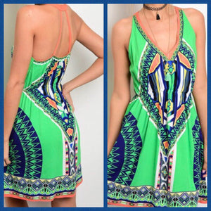 Green Multi-Print Dress