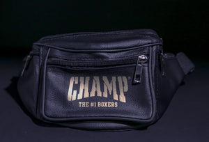 Black and Gold Leather Fanny Pack