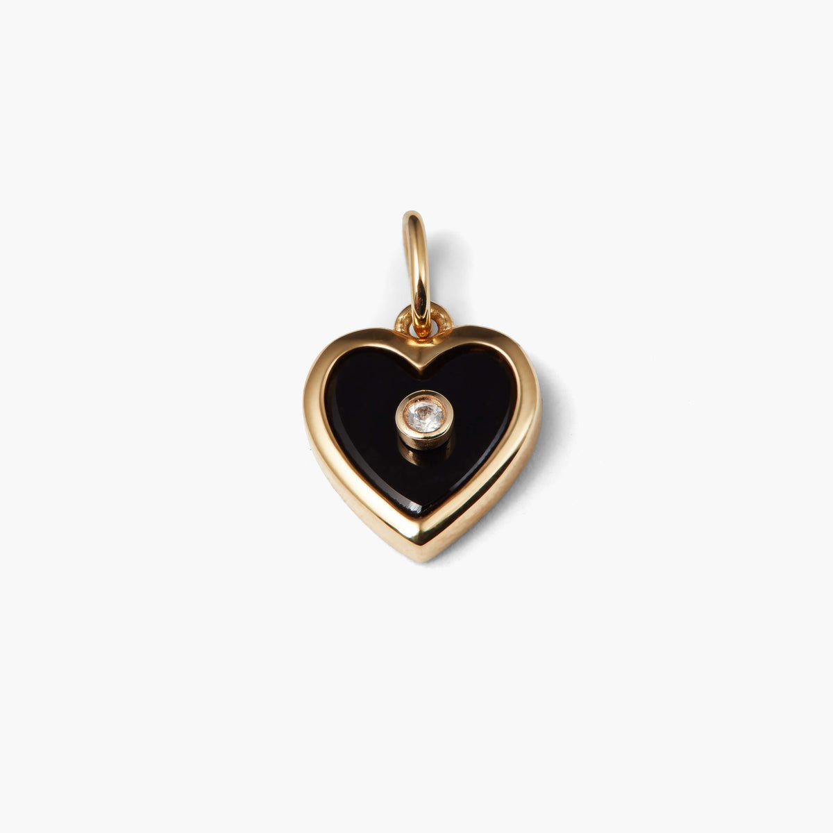 Black Onyx and White Topaz Heart Pendant