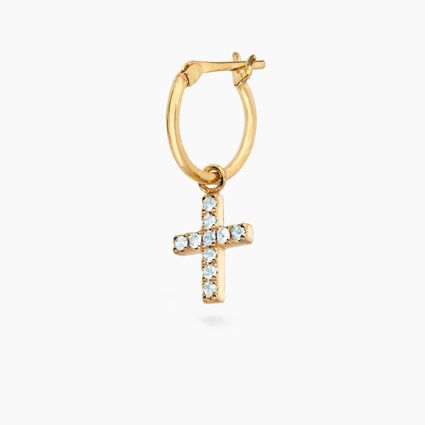 Blue Topaz Cross Hoop