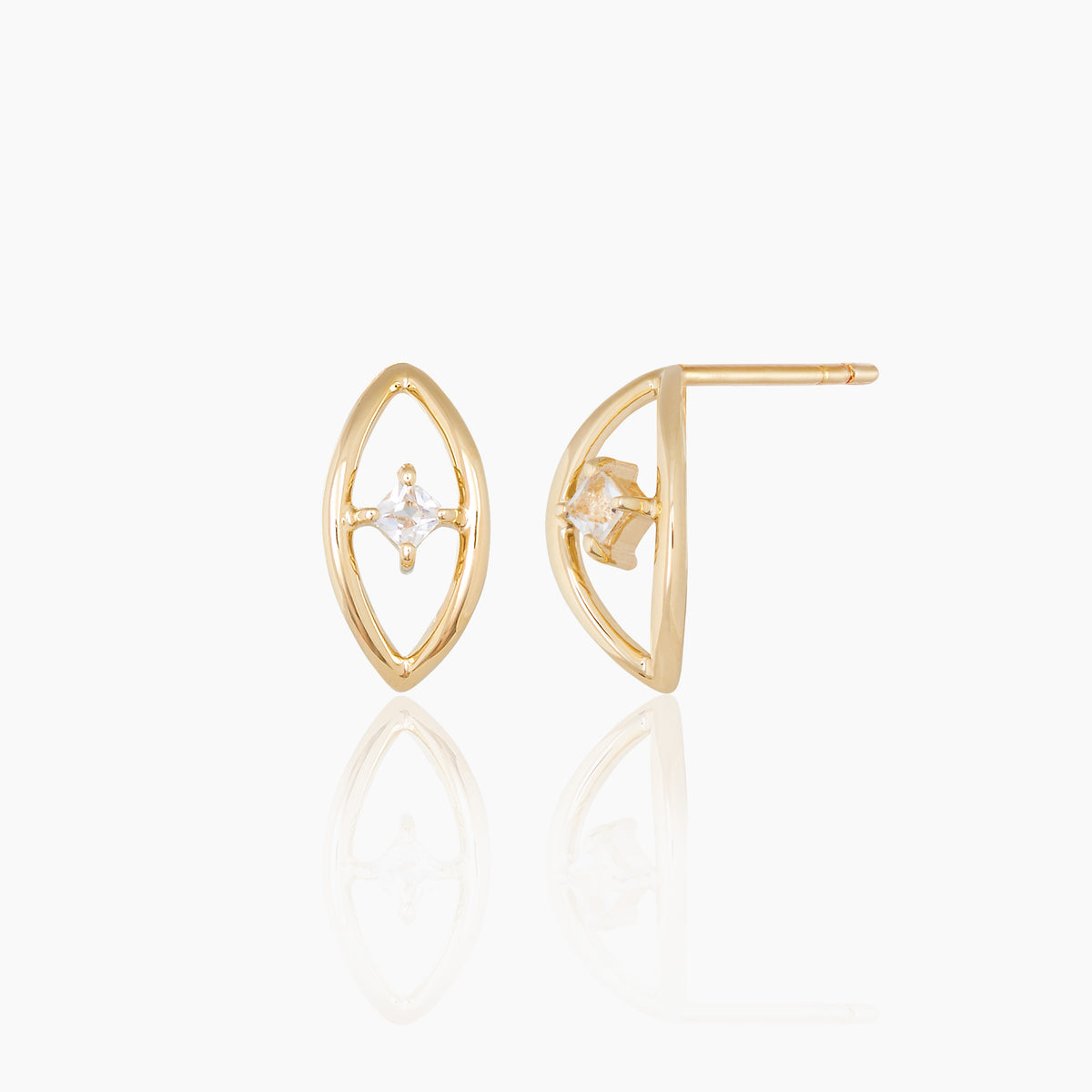 A pair of gold earring with white topaz, the constellation earring as part of the otiumberg collection.