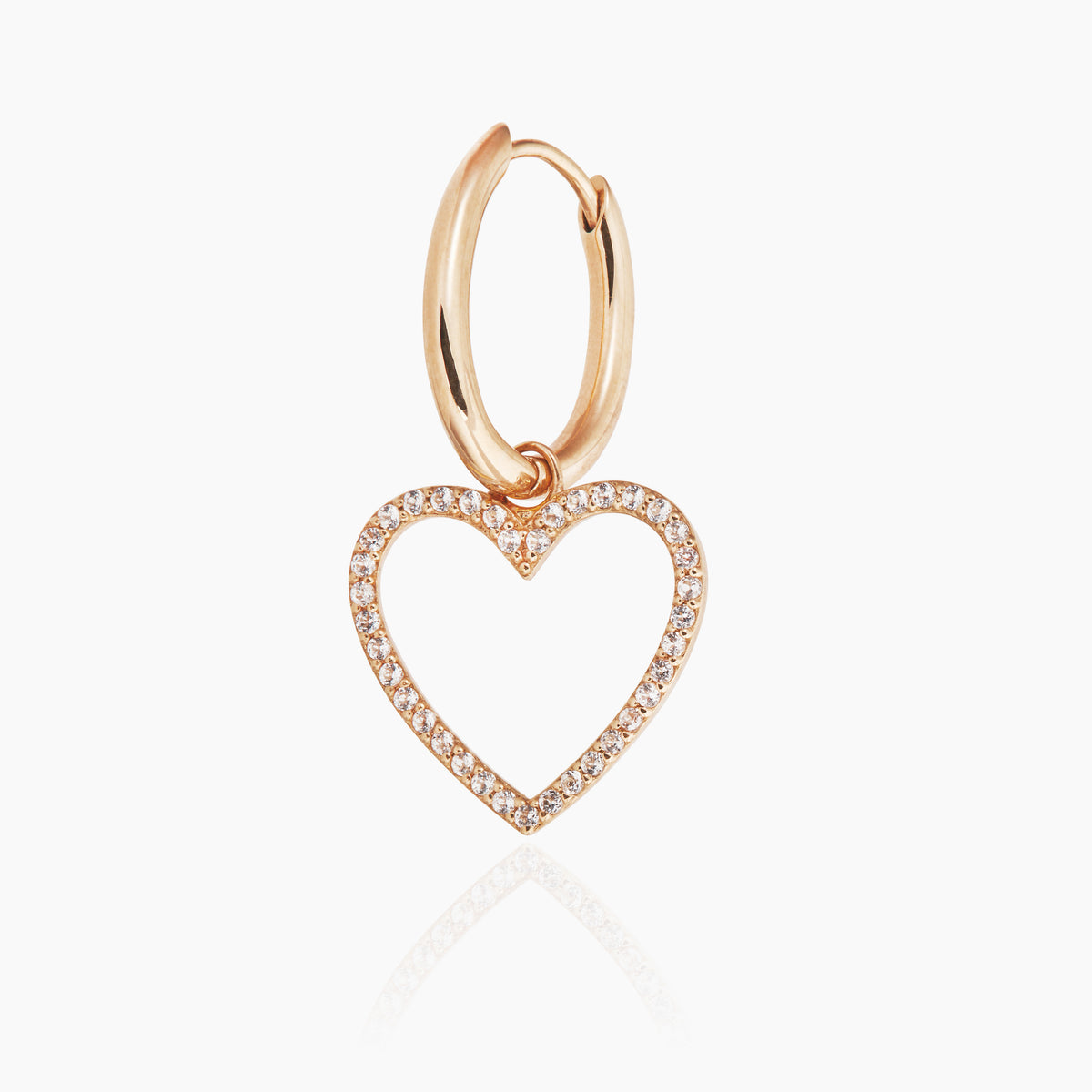 Heart Hoop with White Topaz