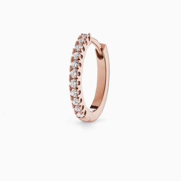 Large Rose Gold Diamond Huggie Hoop
