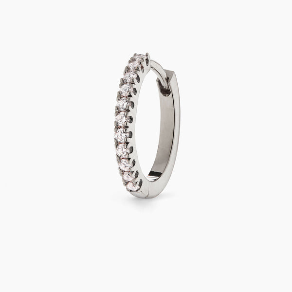Large White Gold Diamond Huggie Hoop