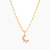 Linked Chain & Pearl Moon Pendant (Pre-order)