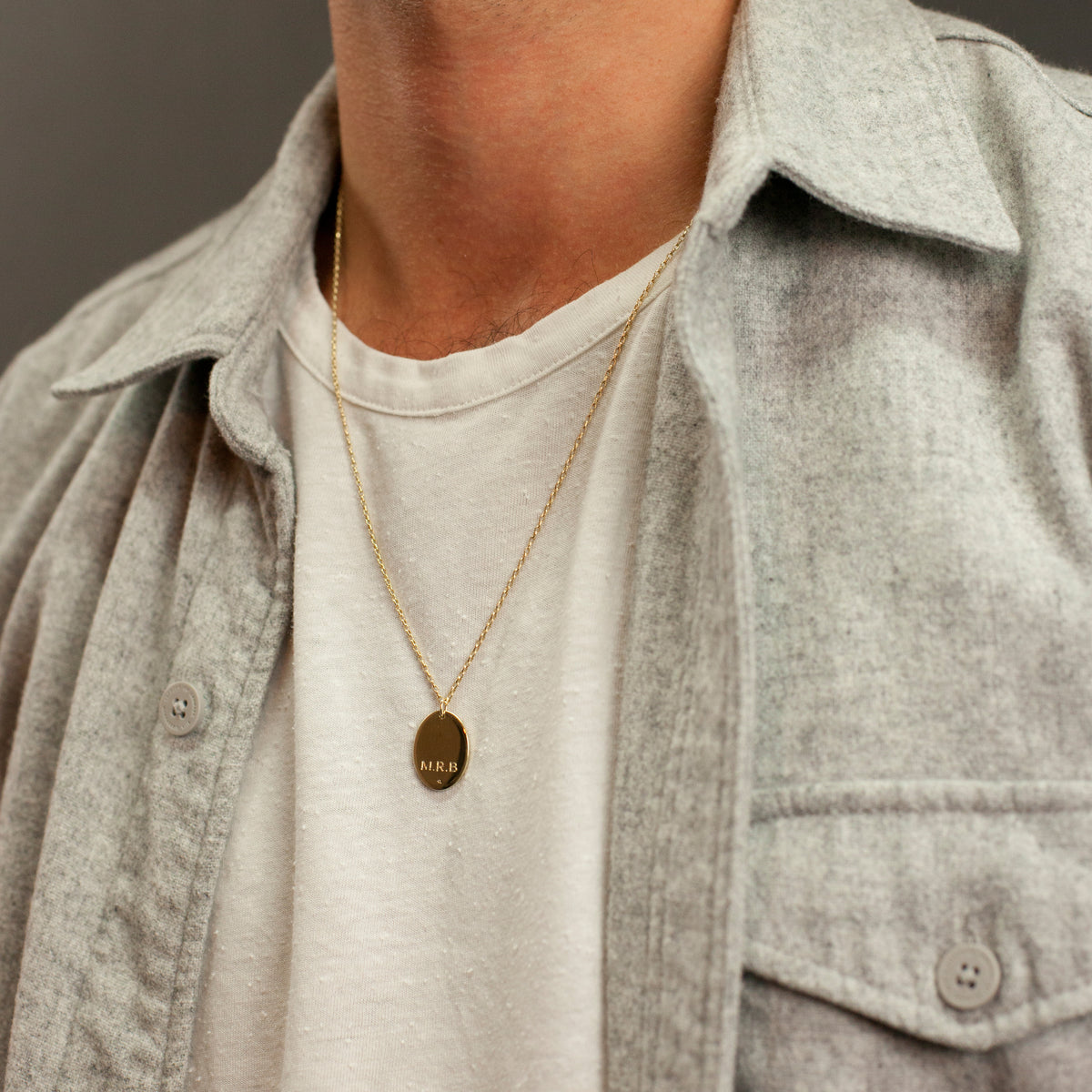 Men's Oval Pendant Necklace. Complimentary Hand Engraving.