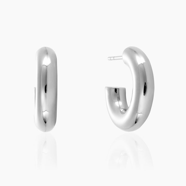 Mini Chunky Silver Hoops