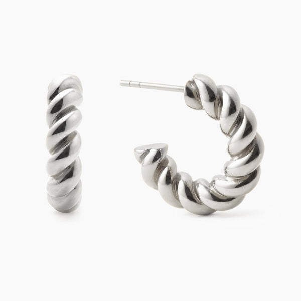 Mini Chunky Twist Silver Hoops