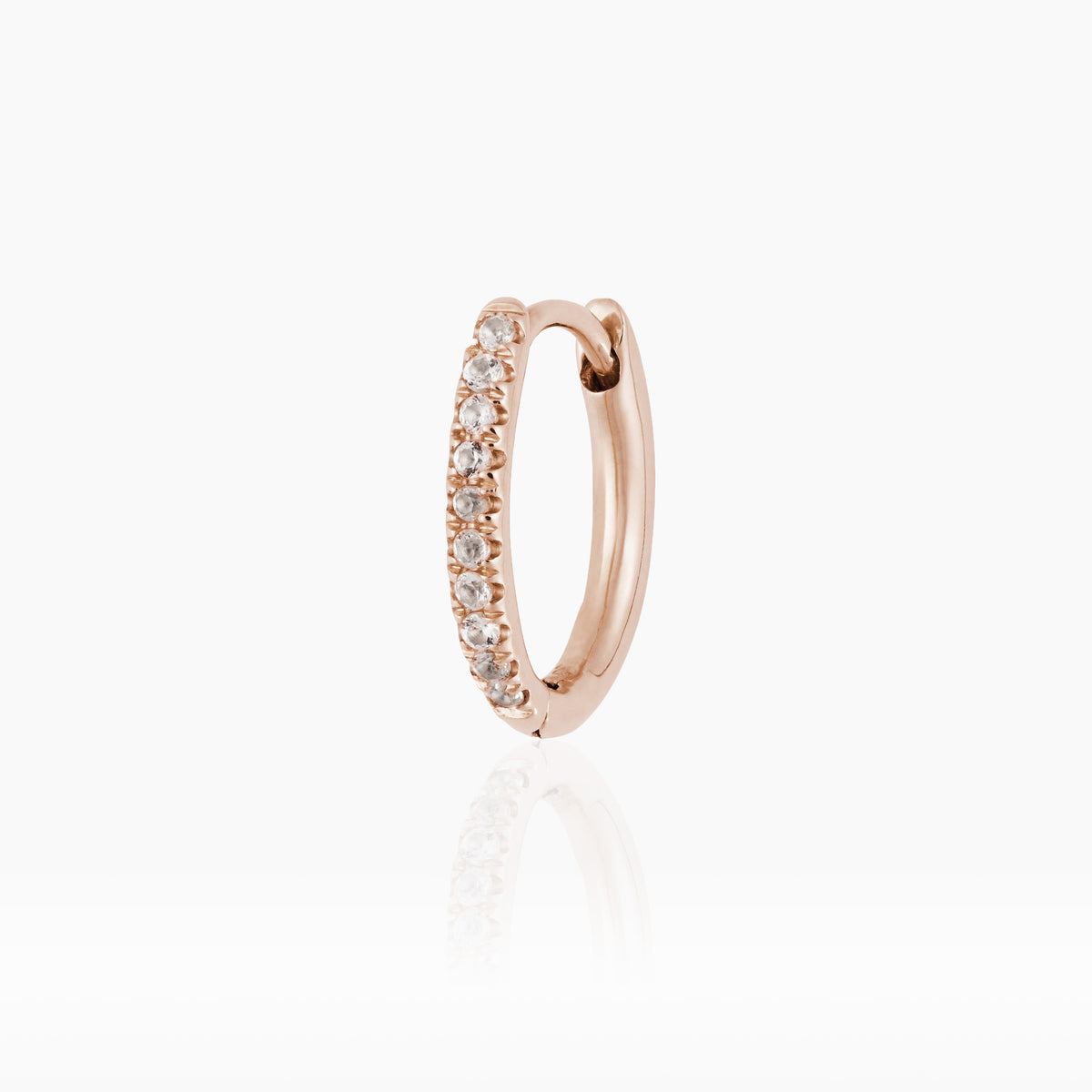 Mini Rose Gold Oval Hoop with White Topaz