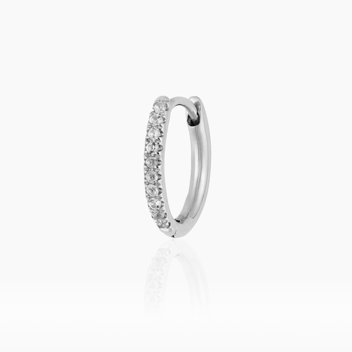 Mini Silver Oval Hoop with White Topaz (Pre-order)