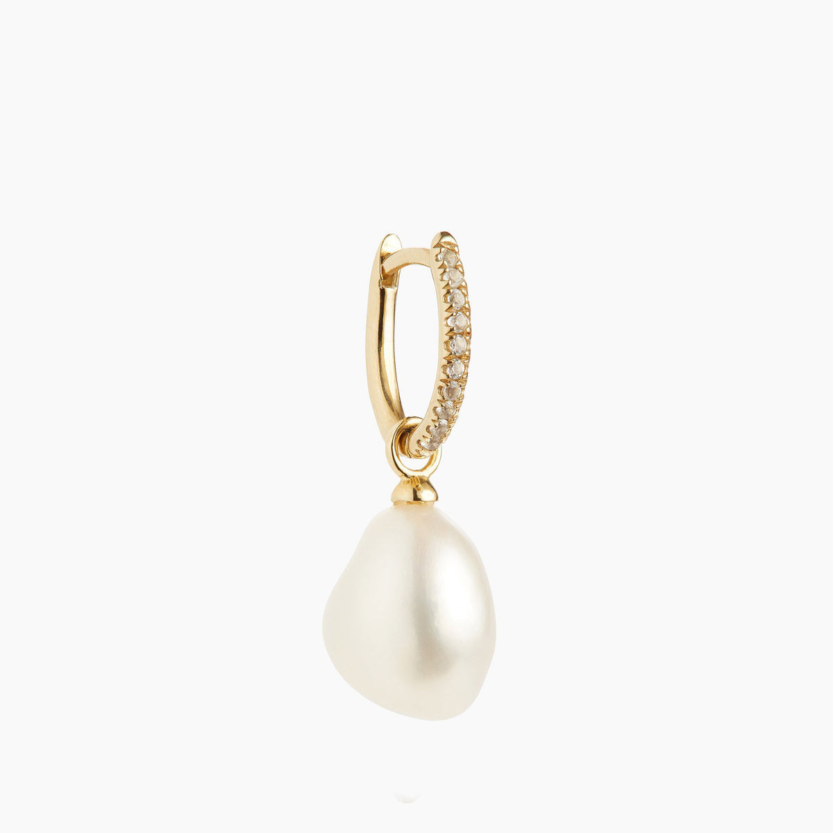 Mini Oval with White Topaz & Simple Pearl Charm